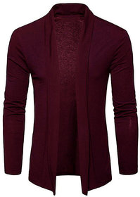 PAUSE Maroon Solid Lapel Collar Slim Fit Full Sleeve Men's Cardigan