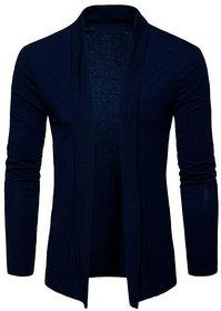 PAUSE Blue Solid Lapel Collar Slim Fit Full Sleeve Men's Cardigan