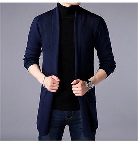 Pause Navy Blue Solid Cotton Shrug for men