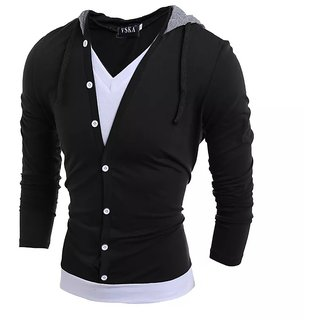 Pause Men Black Solid Hooded T-Shirt