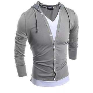 Pause Hooded Silver T-Shirt For Men