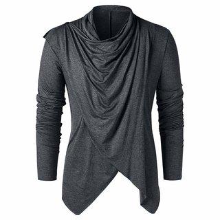 Pause Men Grey Cotton Solid Cardigan