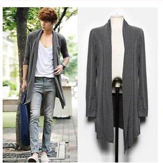 Pause Grey Solid Shawl Collar Slim Fit Full Sleeve Men'S Cardigan