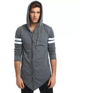 PAUSE Silver Solid Hooded Slim Fit Full Sleeve Men's Shrug