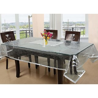 CASA-NEST Laminated Patch Design PVC 6 Seater Dining Table Cover - Silver