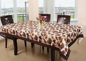 CASA-NEST Floral Cotton 6 Seater Dining Table Cover - Brown