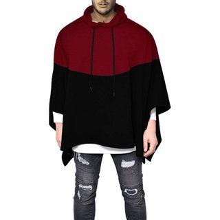 Pause Maroon Solid Hooded Slim Fit Full Sleeve Men'S Hooded Poncho