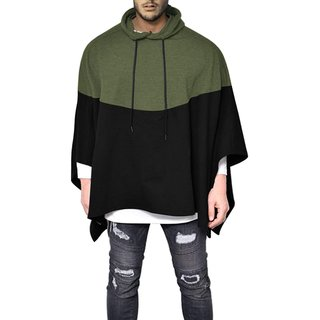 Pause Olive Solid Hooded Slim Fit Full Sleeve Men'S Hooded Poncho