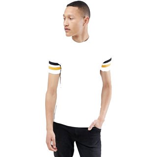 Pause White Solid Round Neck Slim Fit Half Sleeve Men'S T-Shirt