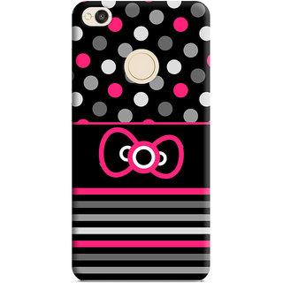 PrintVisa Pink Grey White Lines Dots Designer Printed Hard Back Case Cover For Redmi 4 - Multicolor