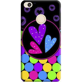 PrintVisa Heart Red Love Lines Pattern Design Lovely Designer Printed Hard Back Case Cover For Redmi 4 - Multicolor