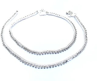 White Silver Plated Anklet