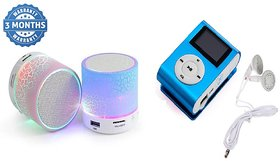 Mini Bluetooth Speaker With Mini Mp3 Player Combo  - Multi-Color