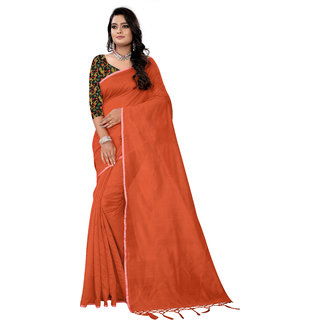 Aurima Womens Chanderi Cotton Saree with Gold Lace Border