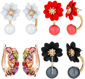 Jewels Galaxy Flowerets AD Multicolor Earrings And Rose Gold Plated Cubic Zirconia Earrings With Multicolor Stud Earring