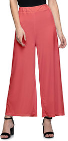 Jakqo Women's Bottom Wear Synthetic Palazzo (Free Size, Peach Pink)