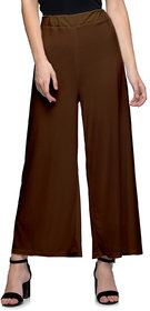 Jakqo Women's Bottom Wear Synthetic Palazzo (Free Size, Chocolate Brown)