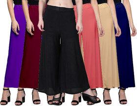 Jakqo Women's Bottom Wear Synthetic Palazzo Pants (Free Size, Pack of 6, Dark Purple, Maroon, Black, Peach Pink, Tan, Navy Blue)