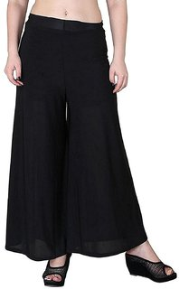 Jakqo Women's Bottom Wear Synthetic Palazzo (Free Size, Black)