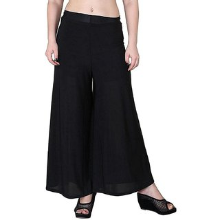 Jakqo Women's Bottom Wear Synthetic Palazzo (Free Size, Black)