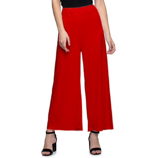 Jakqo Women's Bottom Wear Synthetic Palazzo (Free Size, Red)