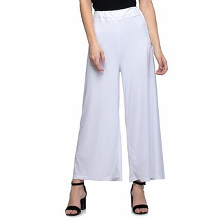 Jakqo Women's Bottom Wear Synthetic Palazzo (Free Size, White)