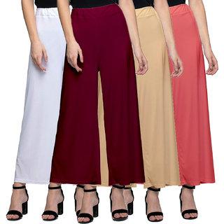 Jakqo Women's Bottom Wear Synthetic Palazzo (Free Size, Pack of 4, White, Maroon, Tan, Peach Pink)