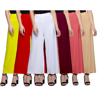 Jakqo Women's Bottom Wear Synthetic Palazzo Pants (Free Size, Pack of 6, Yellow, Red, White, Maroon, Peach Pink, Tan)