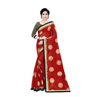 Aurima Womens Chanderi Cotton Saree with Jari and Satin Lace Border