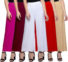 Pack Of 5 Jakqo Women Multicolor Plain Bottom Wear Synthetic Palazzo Pant
