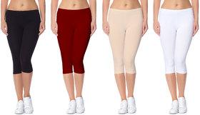 Pack Of 4 Jakqo Plain Multicolor Cotton Lycra Capri For Women