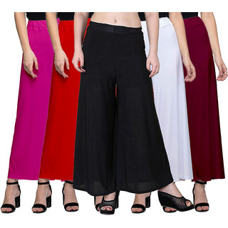 Jakqo Women's Bottom Wear Synthetic Palazzo Pants (Free Size, Pack of 5, Hot Pink, Red, Black, White, Maroon)
