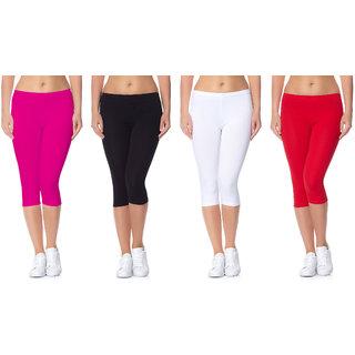 Jakqo Women's Cotton Bio-Wash Capri (Free Size, Pack Of 4, Hot Pink, Black, White, Red)