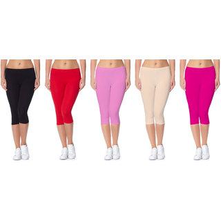 Jakqo Women's Cotton Bio-Wash Capri (Free Size, Pack Of 5, Black, Red, Baby Pink, Tan, Hot Pink)