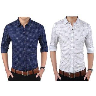 Mexmy White  Blue Pack of 2 Full Sleeve Mens Shirt