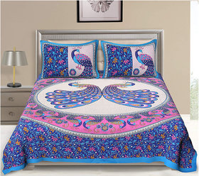 FrionKandy 100% Cotton Animal Print 120 TC Double Bed Sheet With 2 Pillow Covers - (82 Inch X 92 Inch, Blue) SHKAP1045