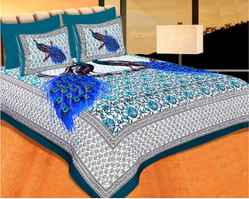 FrionKandy 100% Cotton Animal Print 120 TC Double Bed Sheet With 2 Pillow Covers - (82 Inch X 92 Inch, Blue) SHKAP1053