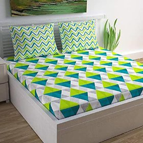 FrionKandy Cotton 120 TC Double Bed Sheet With 2 Pillow Covers - (82 Inch X 92 Inch, Green) SHKAP1129