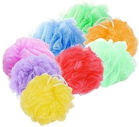 FOXSTON Body Loofah Sponge Nylon Mesh Scrubber Shower Pouf for UNISEX, 35 Gram, Pack of 8 (Plastic)