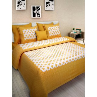 FrionKandy Yellow Cotton Geometric Print 120 TC 1 Double Bed Sheet With 2 Pillow Covers (82 Inch X 92 Inch) SHKAP1032