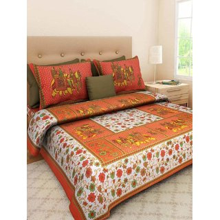 frionkandy Orange 100% Cotton Printed 120 TC Double Bed Sheet With 2 Pillow Covers - (82 Inch X 92 Inch) SHKAP1034