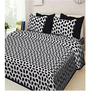 FrionKandy 100% Cotton Stone Print 120 TC Double Bed Sheet With 2 Pillow Covers - (82 Inch X 92 Inch, Black) SHKAP1041