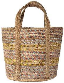 Jute Basket With Cotton Yarn