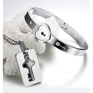 Silver Shine Classic Design Heart Lock and Key Stainless Steel Couple Bracelet   Nacklace Set for Couples Men and Women