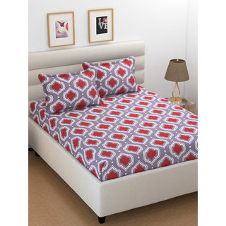 Om Handicrafts Grey Abstract Cotton Double Bedsheet With 2 Pillow Cover- 220 x 230 cm