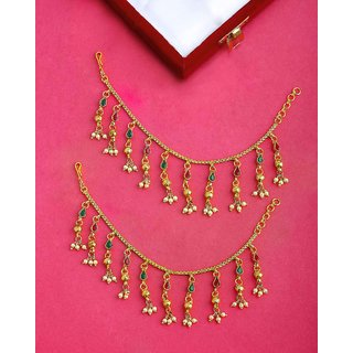 Voylla Gold Plated Heavily Embellished Ear Chains