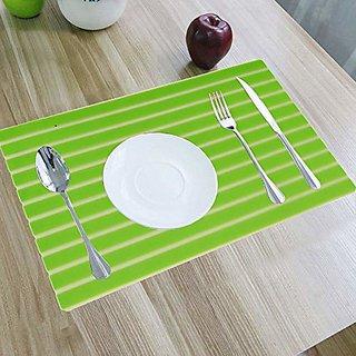 CASA-NEST Lining Design PVC 6 Piece Dining Table Place Mat Set - Green
