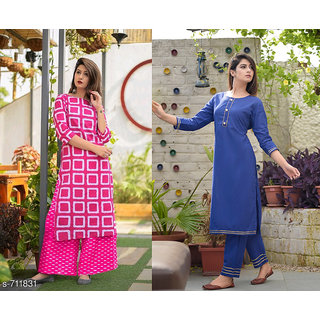 Dhruvi Party Wear Cotton Kurta with Palazzo Combo Set for Women
