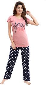 Be You Cotton Printed Women Top & Pyjama Night Suit (Peach-Navy)