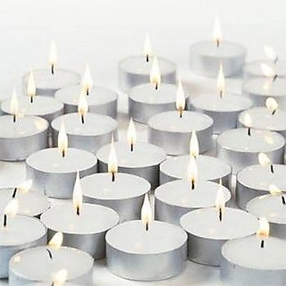 Spa Veda Wax Tea Light Candle (White, Set of 50) Smokeless Candles